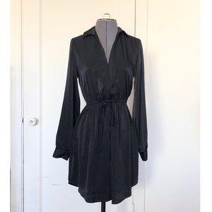 Lush black satin shirt dress